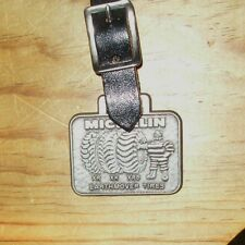Michelin Man Tires Metal & Leather luggage Tag Strap & Buckle Pewter Earthmover
