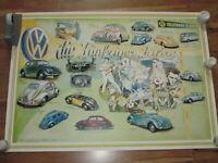 VW Modelle der 50 er Jahre  Plakat   - Poster - 80 cm x 56 cm