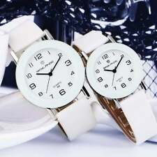 Skylange Women's 38mm White Dial High Polished SS Watch with Leather Band