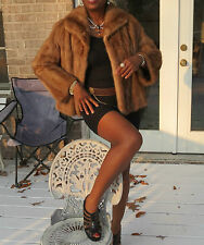 Excellent Instyle Crop brown Mink Fur coat jacket bolero stroller S-M 2-10
