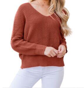 Maglione maglia elegante da donna casual scollo a V maniche lunghe