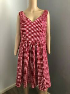 city chic s/less red white stretch cotton dress party dinner XS fits 14  EUC