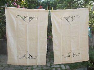coppia asciugamani lino ricamati a mano anni 50