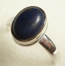 Size US 6 (L 1/2) 925 Sterling Silver Natural Cabochon Lapis Lazuli Ring