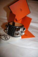Hermes CDC Collier De Chien Bracelet Graphite Grey Palladium Crocodile Small