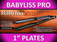 "BAD BOX NEW * BABYLISS PRO 450° PORCELAIN CERAMIC 1"" FLAT IRON HAIR STRAIGHTENER"
