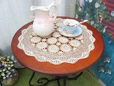 """ONE Vintage Hand Crochet Topper/Centerpiece~20"""" Round~Beige/Ecru~Shabby Chic~"""