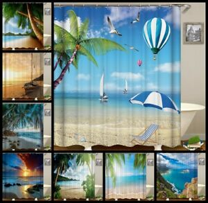 Beautuful Sea Beach Shower Curtain Liner Waterproof Bathroom Fabric 12 Hook Mats