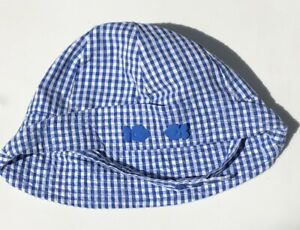 NEW Blue Gingham TCP The Children's Place Sun HAT Beach FISH Size 6-9-12 mo NWT