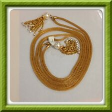 """High QUALITY 40"""" Double STRAND  GOLD MESH & FAUX PEARL NECKLACE - New"""