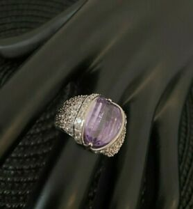 Designer chunky cocktail made with amethyst, clear pave Swarovski Elements ring