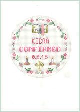 CROSS Stitch greeting card per una conferma in rosa-KIT COMPLETO su 16 AIDA