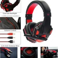 Gaming Headset with Mic and LED Light for Laptop Computer Cellphone PS4 Laptop