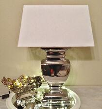 SILVER LADY 53 cm Tischlampe WEIß Silber Shabby Chic Tischleuchte Keramiklampe