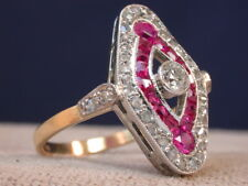 ANTIQUE ART DECO 18K GOLD & PLATINUM GENUINE DIAMONDS & RUBIES RING nr