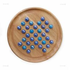 Natural Wood Games Solitaire Board With Two Tone Blue Glass Marbles