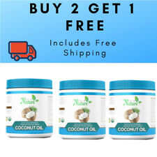 3 x 1ltr Extra Virgin Coconut Oil, 100% Organic Raw - SAVE! 3 for the price of 2