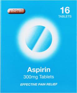 16  Aspar Aspirin 300mg Tablets For Headache Fever Migraines & Pain Relief
