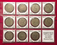 Lot Of 11 Mexican Silver Pesos - Complete Set #1 - 1957 To 1967 L@@K