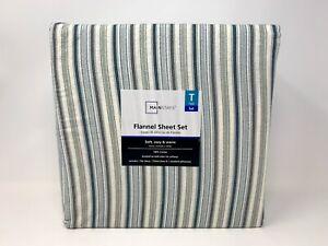 Mainstays 4 Piece Farmhouse Ticking Stripe Twin Flannel Sheet Set 100% Cotton