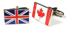Union Jack & Canada Friendship Cufflinks in Gift Pouch 20mm FREE UK P&P