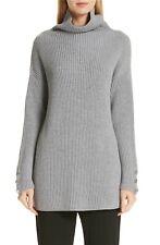 MAX MARA Grey Rib Knit Wool FATTORE Funnel Turtle-neck Button Trim Sweater LARGE