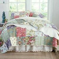 BEAUTIFUL PATCHWORK COUNTRY IVORY RED PINK FLORAL ROSE GREEN BLUE SOFT QUILT SET