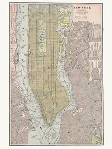 Old Vintage Decorative Map of New York Cram ca. 1901