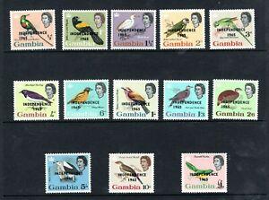 1965 QEII Gambia Independence Overprinted bird set of 13 UM