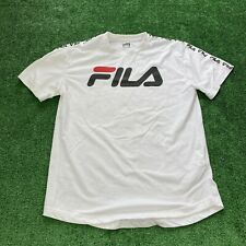 Men's FILA T-Shirt Size Medium White Ribbon Shoulder Spellout