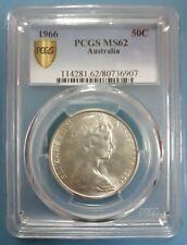 1966 Australia Fifty Cent 50c PCGS MS62 UNC