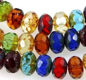 25 Czech glass Faceted Gemstone Donut  Rondelle Picasso Multi Color 8x5mm