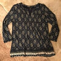 Women's Lucky Brand V-Neck Top Floral Navy Blue Size Medium NEW WITH TAGS