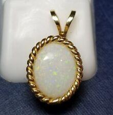 14k gold opal pendant necklace vintage estate