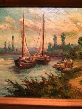 Vintage 50's Miniature Art Seascape Harbor Oil on Artist Board Framed and Signed