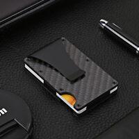 Men Slim Carbon Fiber Credit Card Holder RFID Blocking Metal Wallet Money Cl N_N