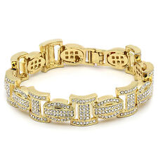 "Men's Gold Plated I Thick Link Clear Cz Stones Hip Hop Bracelet 9"" Inch"