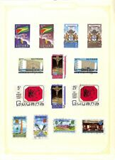 [OP6109] Guyana lot of stamps on 12 pages