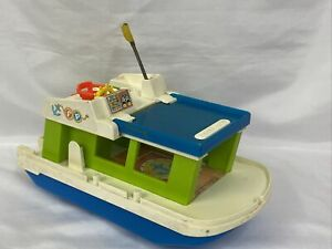 Vintage Fisher Price 1972 Little People HAPPY HOUSE BOAT Toy #985