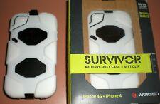 Griffin Survivor case for Apple iPhone 4/4s, White & Black + Belt Clip, NEW