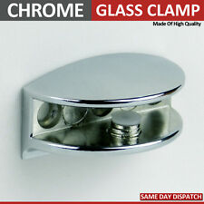 4 ADJUSTABLE GLASS SHELF BRACKETS CHROME MIRROR EFFECT CLAMP SUPPORT 4 to 10 m