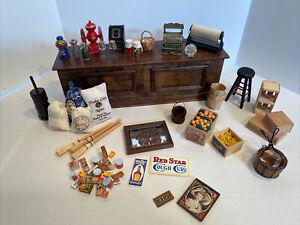 Vintage General Shop Lot Wood Stand Food Signs Etc Dollhouse Miniatures 1:12