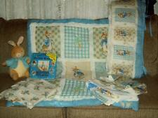 7 PC VINTAGE COUNTRY TIME BEATRIX POTTER PETER RABBIT CRIB BEDDING SET GUC