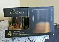 ..CELLINI SET OF 4 (10.4 oz.) Double Old Fashioned Bar Glasses Gold/Silver