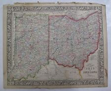 1864 Mitchell's Atlas Hand Colored County Map Ohio Indiana Columbus Indianapolis