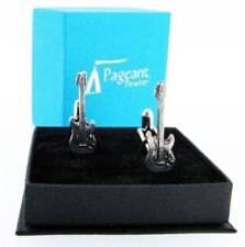 Electric Guitar Silver Pewter Cuff Links in A Presentation Gift Box