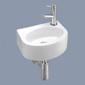Small White Ceramic Mini Hand Wash Basin Compact Bathroom Cloakroom Sink+Fixings
