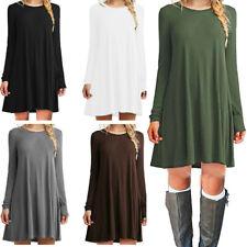 Womens Long Sleeve T Shirt Dress Plus Size Casual Sundress A Line Tunic Dress US