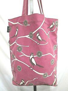Rootote Purple Canvas Bird & Flower Graphic Media Pocket Shoulder Tote Handbag