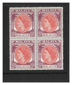 Malaya - Malacca 1952 QEII 35c In Block of 4 Stamps SG12a Mint Unhinged 15-1